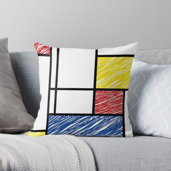 Mondrian Scribbles Minimalist De Stijl Modern Art © fatfatin Throw Pillow