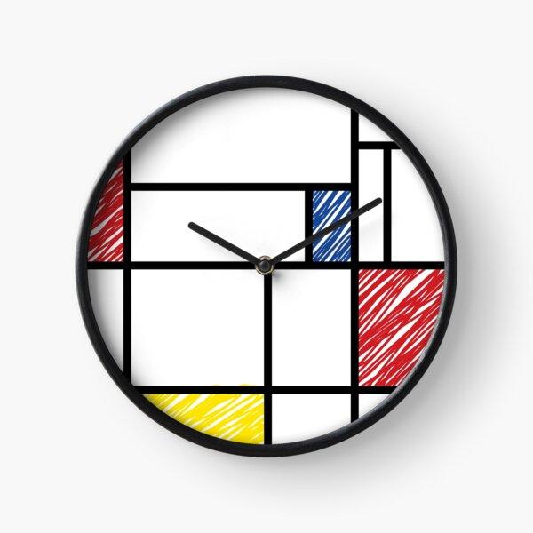 Mondrian Scribbles Minimalist De Stijl Modern Art © fatfatin Clock
