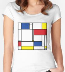 Mondrian Minimalist De Stijl Modern Art Women's Fitted Scoop T-Shirt