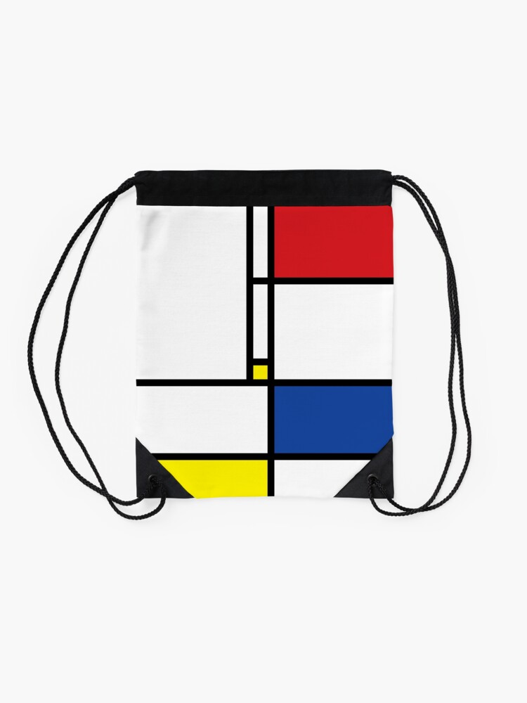 Alternate view of Mondrian Minimalist De Stijl Modern Art Drawstring Bag