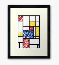 Mondrian Scribbles Minimalist De Stijl Modern Art Framed Print