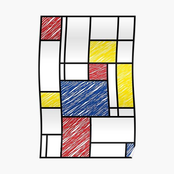 Mondrian Scribbles Minimalist De Stijl Modern Art © fatfatin Poster