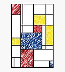 Mondrian Scribbles Minimalist De Stijl Modern Art Photographic Print