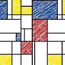 Mondrian Scribbles Minimalist De Stijl Modern Art by fatfatin