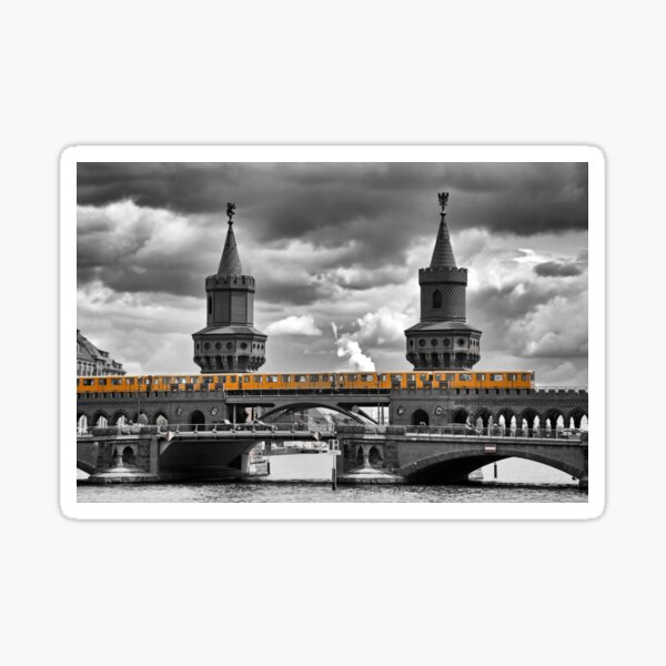 yellow city train Sticker