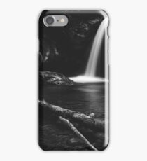 Minimalistic waterfall behind broken tree in black and white iPhone Case/Skin