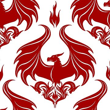 Dragon Damask - Ruby Red by Art-by-Aelia