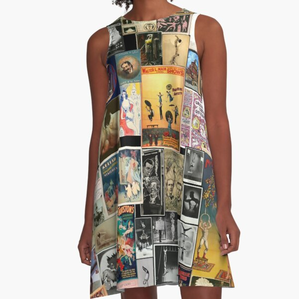 Vintage circus collage A-Line Dress