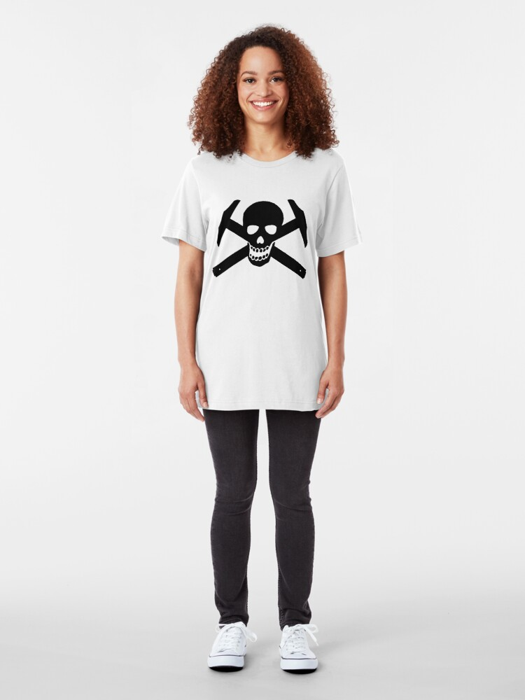 Alternate view of Architectural Jolly Rogers - Black Image Slim Fit T-Shirt