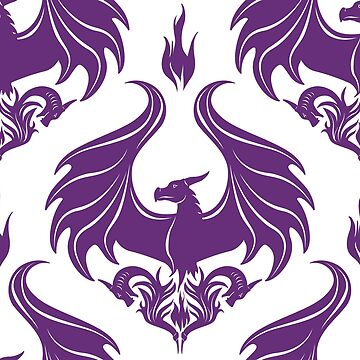 Dragon Damask - Amethyst Purple on Black by Art-by-Aelia