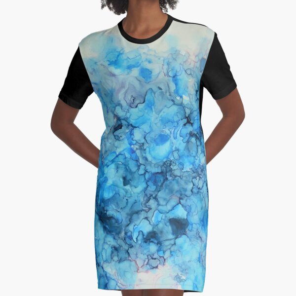 Polar - Alcohol Ink Painting Graphic T-Shirt Dress