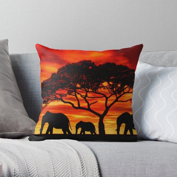 Acacia Elephant Sunset Throw Pillow