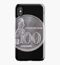 Indonesian 100 Rupiah coin close up on black iPhone Case