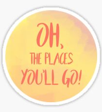 Oh, The Places You'll Go! Peach watercolor sticker Sticker