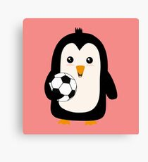 Soccer Penguin with ball Rg3ps Canvas Print