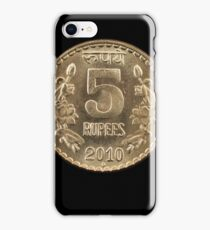 Indian five rupee coin close up on black iPhone Case/Skin