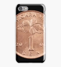 Malaysian one sen coin close up on black iPhone Case/Skin