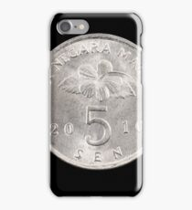 Malaysian five sen coin close up on black iPhone Case/Skin