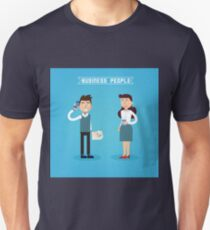 Business People. Businessman and Businesswoman. Woman with Coffee. Man with Phone. Business Team. Flat style T-Shirt