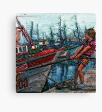 Boy and Boat Canvas Print