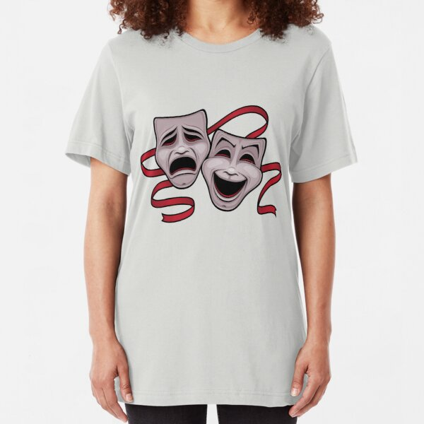 Comedy And Tragedy Theater Masks Slim Fit T-Shirt