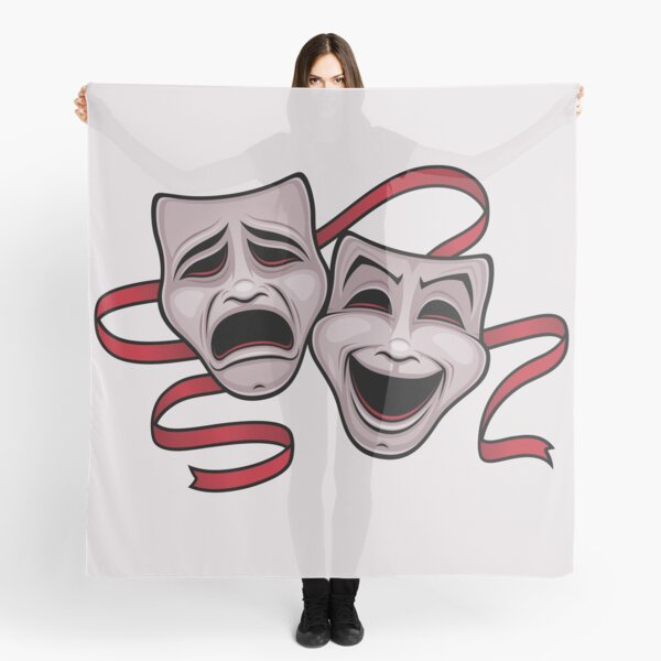 Comedy And Tragedy Theater Masks Scarf