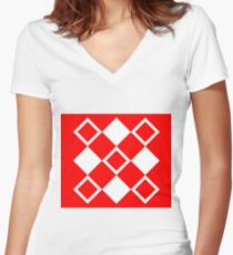 Abstract squares - red and white. Women's Fitted V-Neck T-Shirt