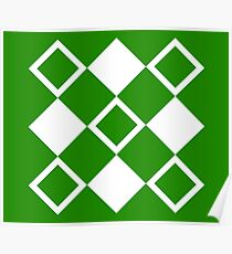 Abstract squares - green and white. Poster