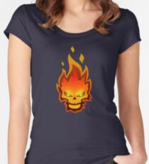 Burning Skull Women's Fitted Scoop T-Shirt
