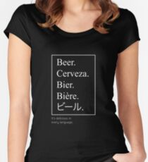 Beer in Different Languages Beer Shirt Women's Fitted Scoop T-Shirt