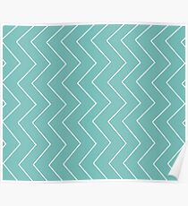 Abstract zigzag - green and white. Poster