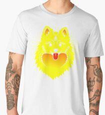 Vector image of a yellow dog. Pomeranian dog head Men's Premium T-Shirt