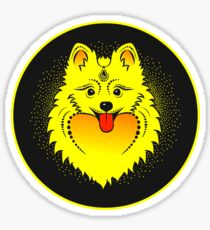 Vector image of a yellow dog. Pomeranian dog head Sticker
