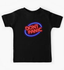 "Hitchhiker's Guide - ""Don't Panic"" Neon Sign Kids Tee"