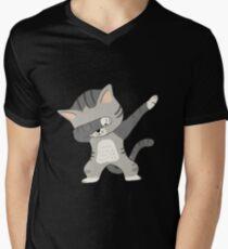 Abtuckendes Katzen-T-Shirt T-Shirt mit V-Ausschnitt