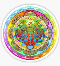 Inner Strength Psychedelic Tiger Sri Yantra Mandala Sticker