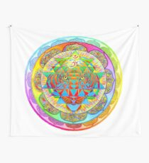 Inner Strength Psychedelic Tiger Sri Yantra Mandala Wall Tapestry