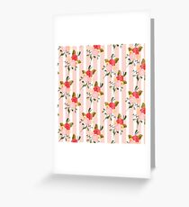 Watercolour Pastel Flowers with Pink Pinstripes Greeting Card