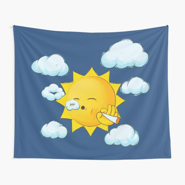 Stoner Sun SMOKING WEED high in the sky Tapestry