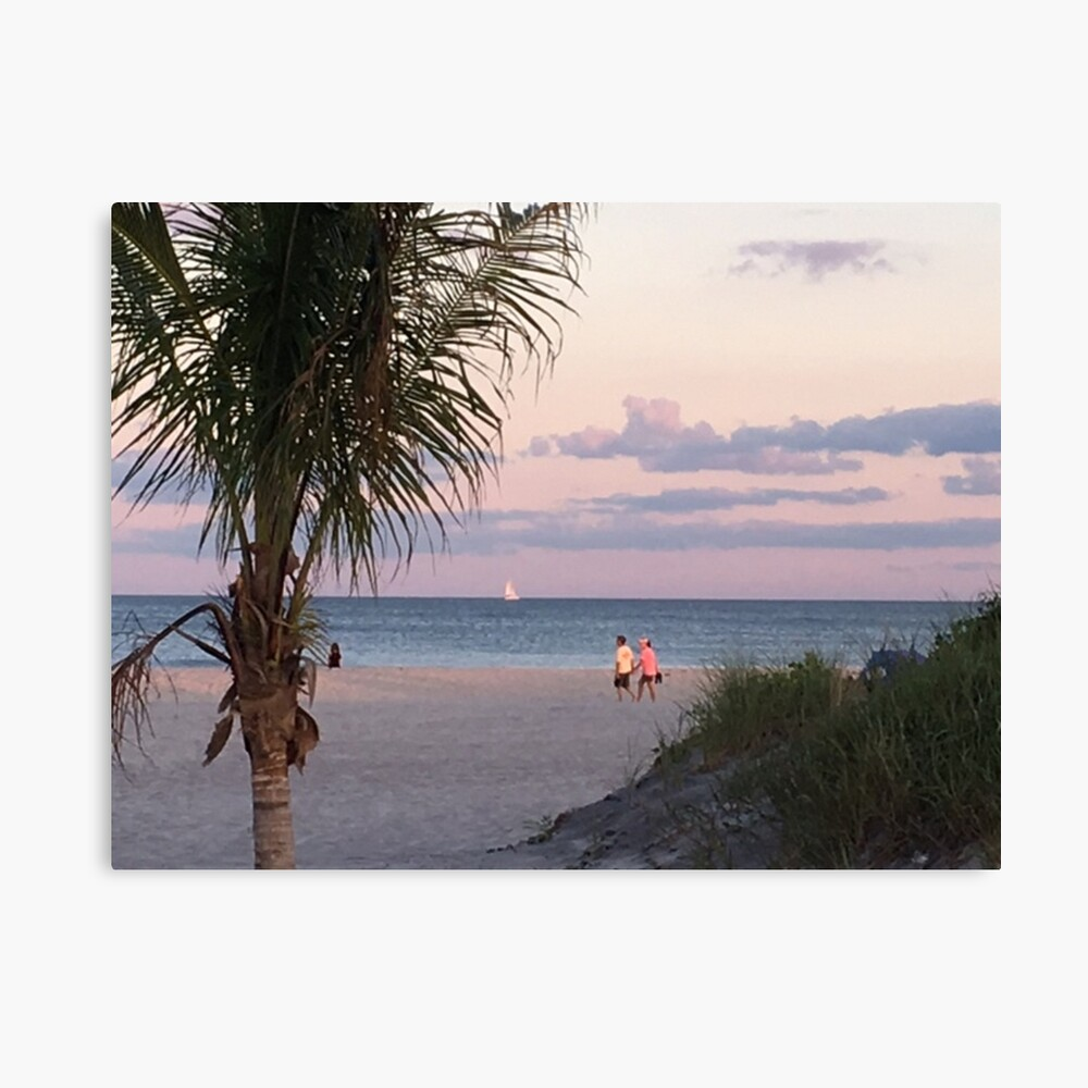 Monet Tropical Beach Sailboat Wall Picture Art Print