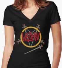Slatanic Vegan Women's Fitted V-Neck T-Shirt