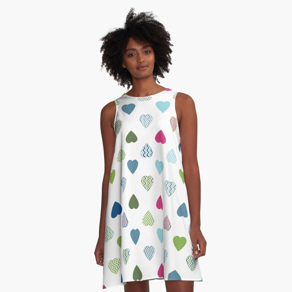 AFE Colorful Hearts A-Line Dress Front