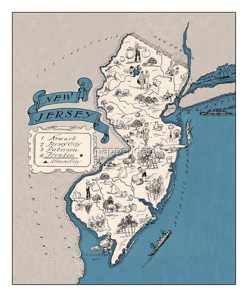 Vintage 1928 New Jersey map - Christmas gift idea\