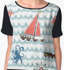 Nautical Scene Illustration Pattern I Women's Chiffon Top