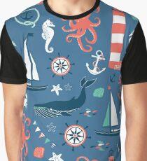Nautical Scene Illustration Pattern II Graphic T-Shirt