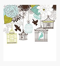 Whimsical Blue and Green Flowers and Birdcages  Photographic Print
