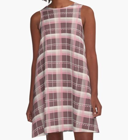 AFE Pink and Chocolate Brown Plaid A-Line Dress