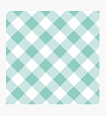 Light Blue Gingham Pattern Photographic Print