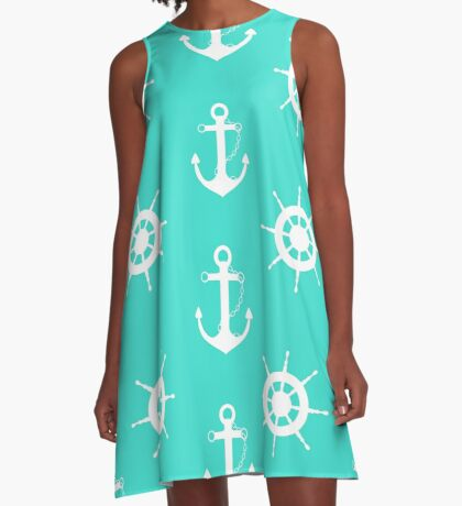 AFE Turquoise Anchor and Helm Wheel A-Line Dress