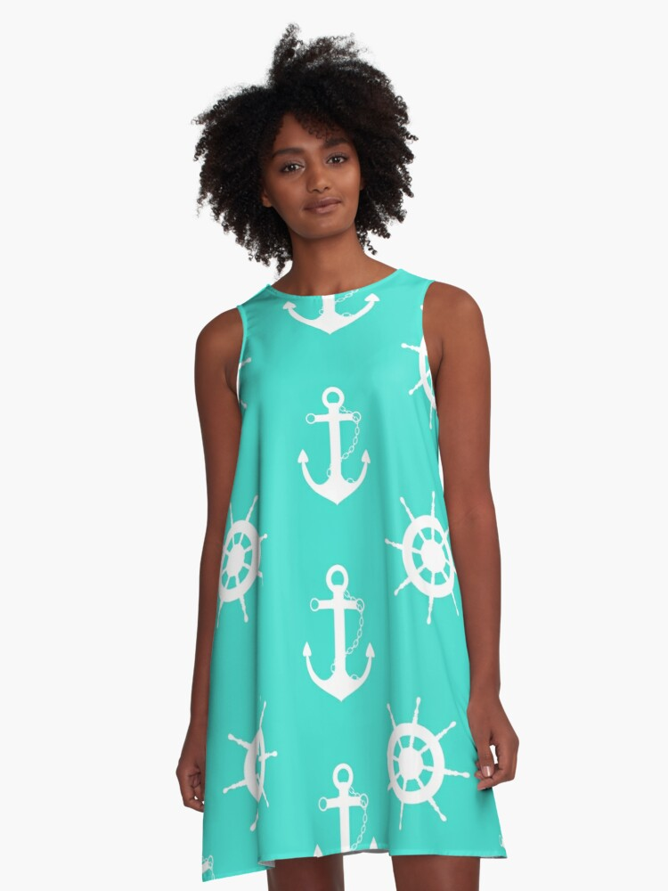 AFE Turquoise Anchor and Helm Wheel A-Line Dress Front